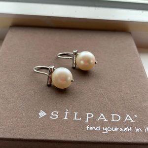 W2958 Silpada Bright Side Earrings Pearl sterling